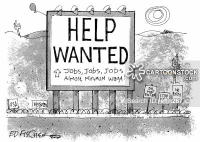 Help wanted sign on the Mexican border.